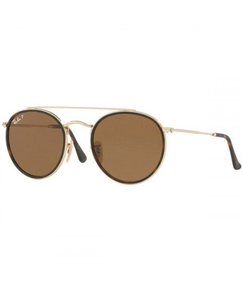 Óculos de Sol Ray-Ban Ray-Ban Round Double Bridge RB3647N 001 / 57 51 Dourado/Marrom - Polarizado -